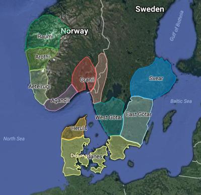 Rough Map of Major Scandinavians c.500