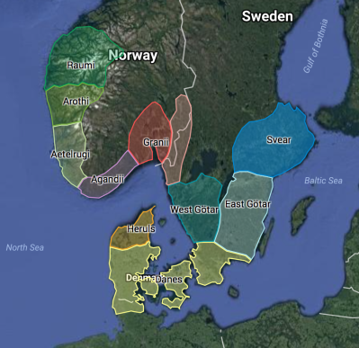 Rough Map of Major Scandinavians c.500