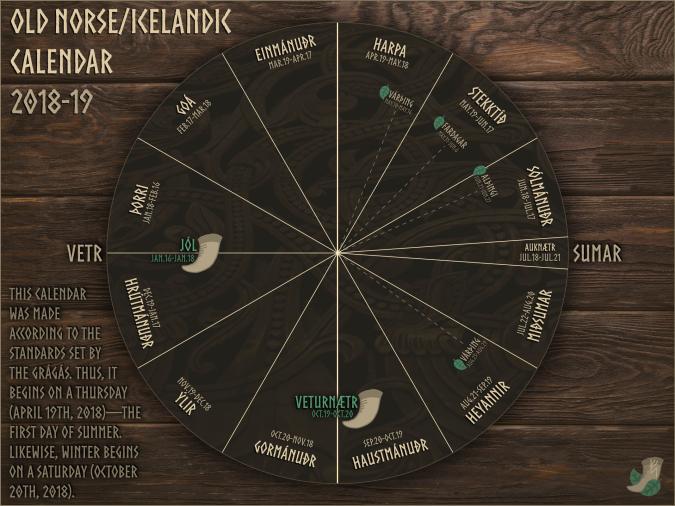 Old Norse:Icelandic Calendar 2018-19